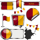 Glossy icons with flag of Rome
