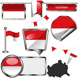Glossy icons with flag of Vienna, Austria