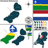 Map of Flevoland, Netherlands