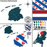 Map of Friesland, Netherlands