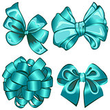 Set with cyan bows