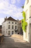 Street with historic medieval buildings, Bruges, Belgium