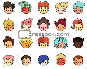Cartoon characters. Boys with different hair style.