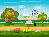 Game background. Park, street, tree, lantern, bench.