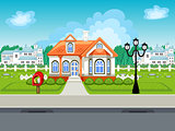 Game street vector background with house