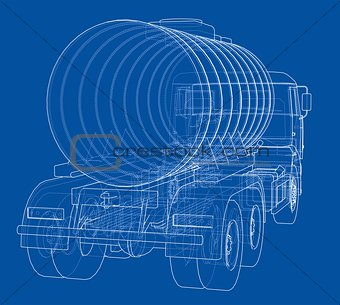 Truck with tank concept. Vector