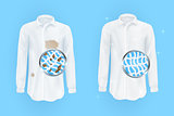 white shirt with dirty brown spots and clean on blue background