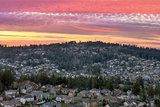 Sunset over Happy Valley Residential Neighborhood