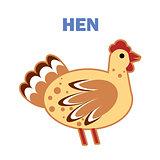 Domestic bird hen isolated