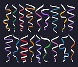 Set of different decorative serpentines, colorful ribbon collection on dark background, vector illustration