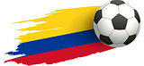Soccer ball and flag of Colombia. Victory kick goal