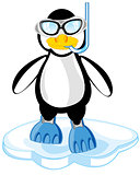 Cartoon of the penguin in mask and flipper