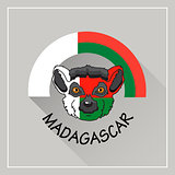 Madagascar  label.  Vector illustration with lemur. Icon. Emblem