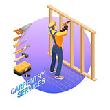 Isometric interior repairs concept. Builder with tools.