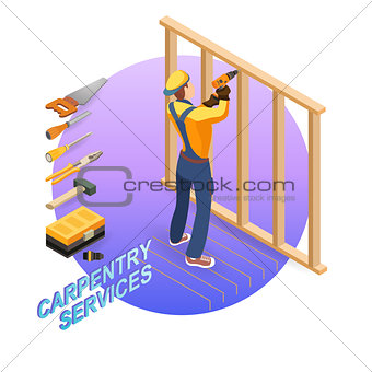 Isometric interior repairs concept. Builder with tools.