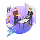 Home repair isometric template. Designer and customer. Vector.