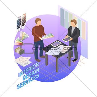 Home repair isometric template. Designer and customer. Vector.