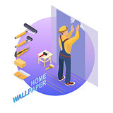 Isometric interior repairs concept. Builder pastes the wall