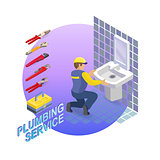 Isometric interior repairs concept. The Plumber.