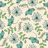 Doodle seamless pattern with flowers and leafs
