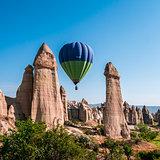 Hot Air Balloon above the Love Valley in Cappadocia, Turkey