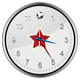 Soccer football clock with red star