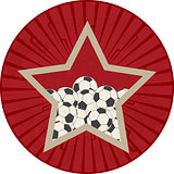 Vintage red star with soccer ball football over vintage star bur