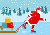 Santa Claus skating, illustration