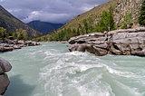 "Final part of ""Atlantes"" rapids, Argut river. Altai, Russia."