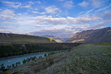 Morning in the valley of Katun river. Altai Mountains, Russia.