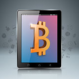 Smartphone, tablet, digital, bitcoin icon