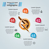 Lightning paper origami business infographic.