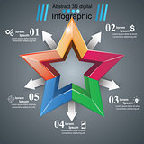 Color star - paper origami infographic.
