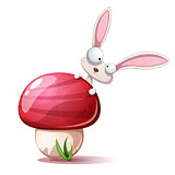 Cartoon funny, cute rabbit and mushroom.