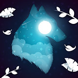 Paper wolf, dog illustration. Nightlandscape.