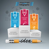 Pencil, education, idea icon. Business infographic.