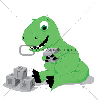 cute baby dinosaur playing with stone cube toys