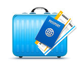 Suitcase for travel with passport and boarding
