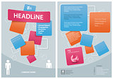 Modern Graphics Template for Flyer with Squared Decoration