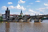 Charles Bridge with Old Town Tower - Prague, Czech Republic. UNESCO monument.