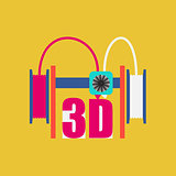 Dual extruder 3d printer. Vector illustration. Modern technology