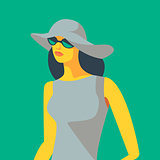 Woman in dress, white hat and sunglasses. Vector illustration