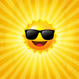 Yellow Sunburst Background With Sun With Sunglasses