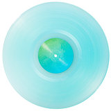 Cyan transparent vinyl record isolated on white background
