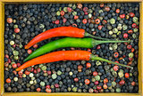 parallel chili pepper green red pod on background mix of polka dots black red white with wooden frame container