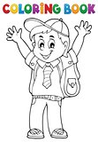 Coloring book happy pupil boy theme 1