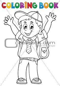 Coloring book happy pupil boy theme 1