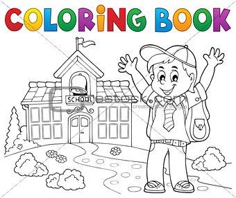 Coloring book happy pupil boy theme 2