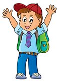 Happy pupil boy theme image 1
