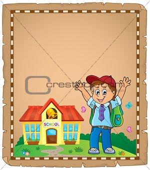 Happy pupil boy theme parchment 1